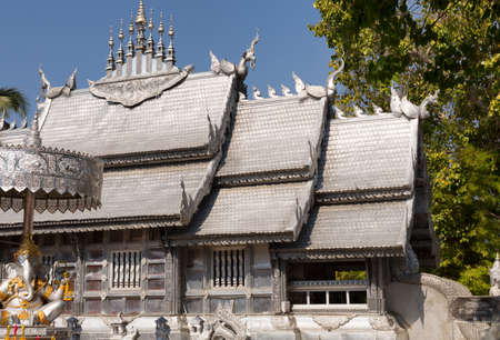 snake bar: silver temple in Chiang Mai, Thailand Stock Photo