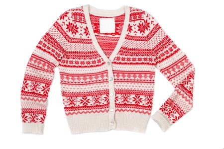 Bright knitted sweater with red pattern. Isolate on white. photo