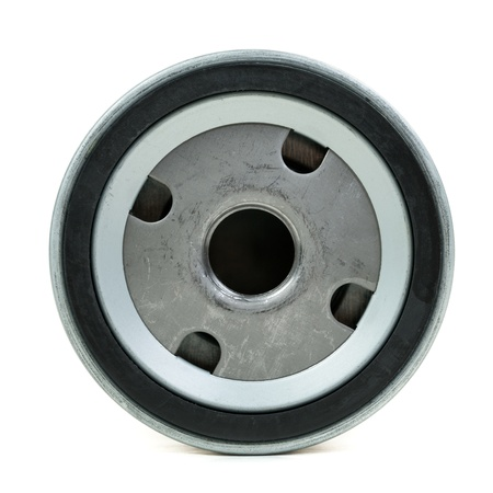 rubber gasket: round screw-on Type Oil Filters For a car. Isolate on white