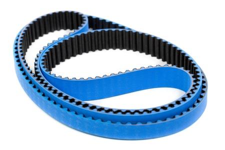 Blue tuning belt car engine isolated white background photo