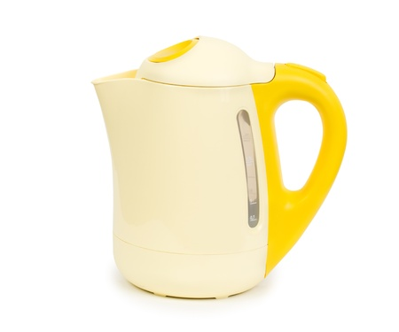electric tea kettle: electric yellow tea kettle isolated on white background with clipping path