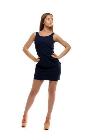 best website 563d3 fd71c Sottile bella ragazza in un abito corto isolato su sfondo bianco