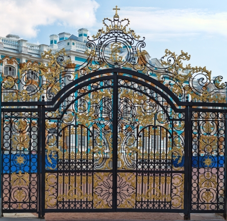 Gold gate, entrance to Catherines Palace, St. Petersburg, Russia