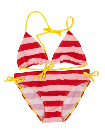 two piece swimsuit: Red striped swimsuit with yellow straps on a white background