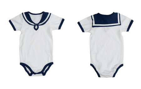 rompers: Two of the form (front and back) baby clothes stylized sailor. Isolate on white background. Image is made up of two frames.