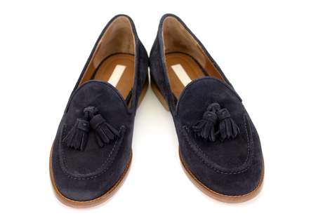 pair of blue suede shoes.