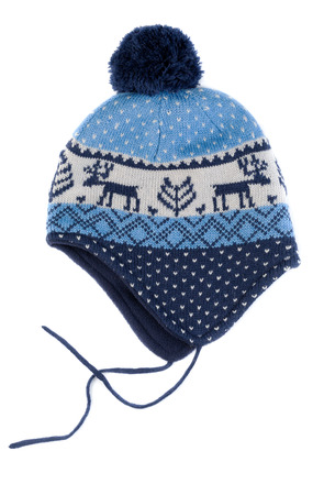 Baby Knitted Hat With Pattern Deer Isolate On White Stock Photo