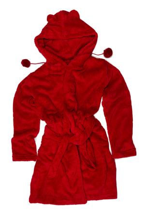 red bathrobe: Red bathrobe with hood. Isolate on white.