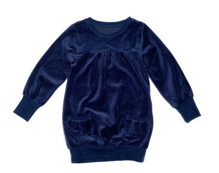 velvet dress: Blue velvet dress with pockets. Isolate on white.