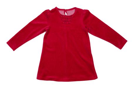 velvet dress: Baby red velvet dress. Isolate on white . Stock Photo