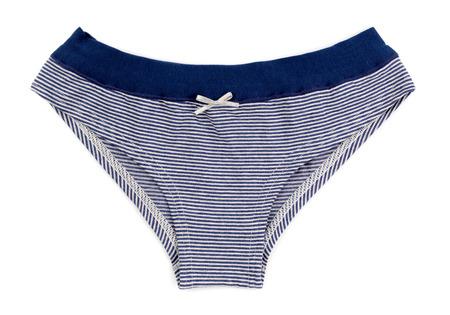 cotton panties: Azul y bragas a rayas de las mujeres blancas de algod�n sencillo aislar en blanco Foto de archivo