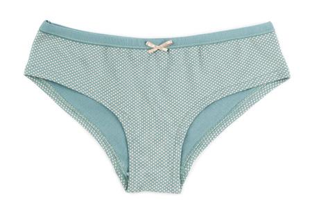 cotton panties: Bragas algod�n simples lunares verdes. Aislar en blanco.