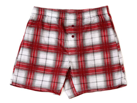 Men's boxer shorts in red and gray plaid. Isolate on white. photo