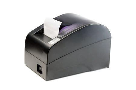 reversing: Modern printer checks for Point Of Sales systems. Isolate on white. Stock Photo