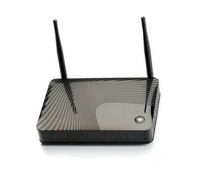 router: Wireless router for internet connections. Isolate on white. Stock Photo
