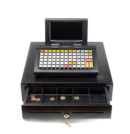 A modern cash register on a white background. Drawer is open. photo