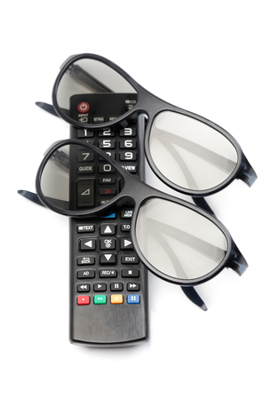 3dtv: Two pairs of 3D glasses and remote control TV. Isolate on white background.