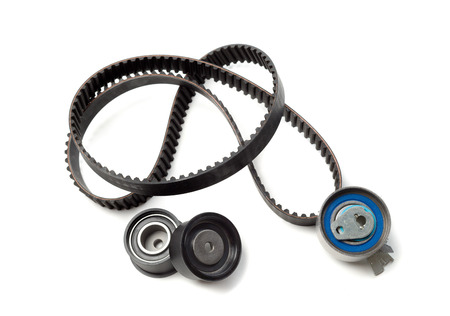 cam gear: Set the timing belt. Isolate on white.