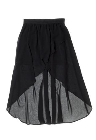 black satin: Black Satin Womens skirt. Isolate on white.