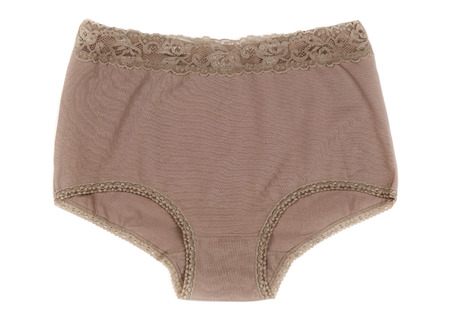 girl panties: Beige Cotton panties. Isolate on white background.