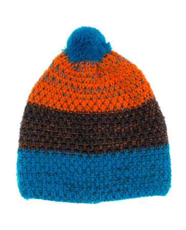 knitten: Warm colored knitted hat. Isolate on white.