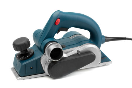 aluminum airplane: Professional electric planer Isolate on White.