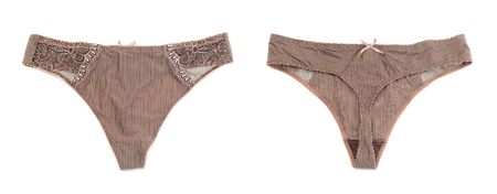 underclothing: Collage of two female brown panties (thong). Front and rear views. Isolate on white.
