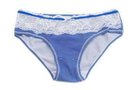 femme en sous vetements: Les pantalons ray�s de la femme avec des rayures bleues. Isoler sur blanc.