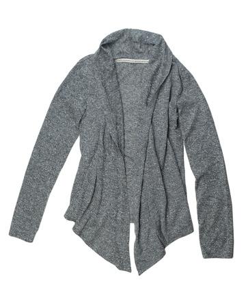 Fashionable gray wool cardigan. Isolate on white. photo