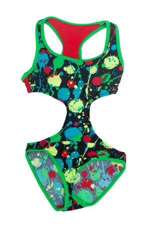 fused: Bright colored childrens swimsuit fused. Isolate on white.