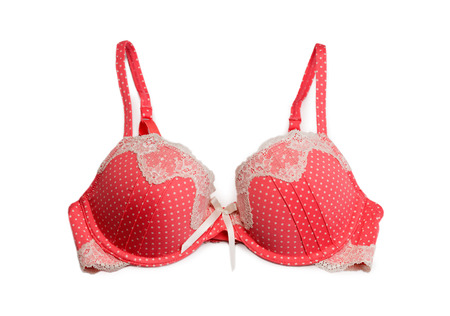 undies: red bra with white polka dots. Isolate on white.