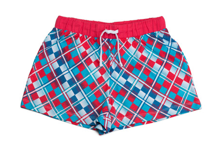blue plaid: Red and blue plaid shorts. Isolate on white. Stock Photo