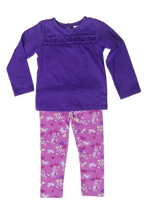 children's wear: Childrens clothing, purple sweater and pink pants. Isolate on white.