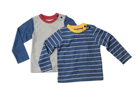 long sleeves: Two childrens T-shirts with long sleeves. Isolate on white. Stock Photo
