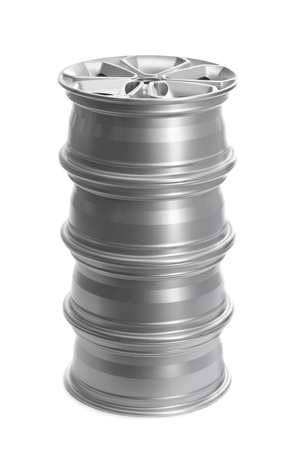 rims: Set in a stack of steel alloy car rims on a white background.