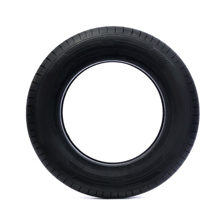 from side: Rubber car tire side view. Studio. Isolate on white. Stock Photo