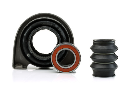shaft: Set of bearing of the propeller shaft support bearing and shaft seal. Isolate on white.