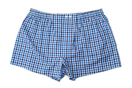 bermudas: Un par de bóxer (ropa interior) aisladas sobre fondo blanco.