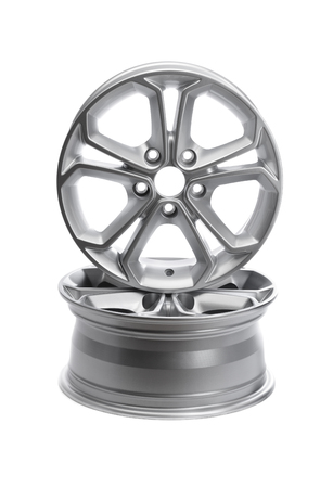 rims: Two steel alloy car rims on a white background.