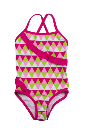 fused: Colorful fused kids swimsuit. Isolate on white. Stock Photo