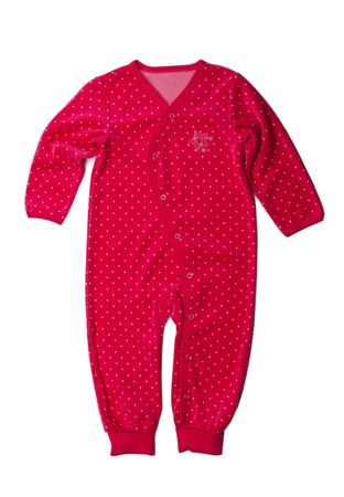 rompers: Red rompers with polka dots. Isolate not white.