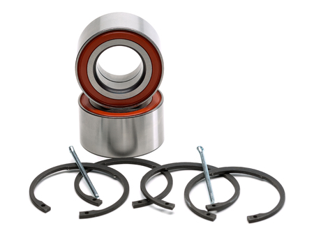 concision: Set of two wheel bearings and four retaining rings. Isolate on white. Stock Photo
