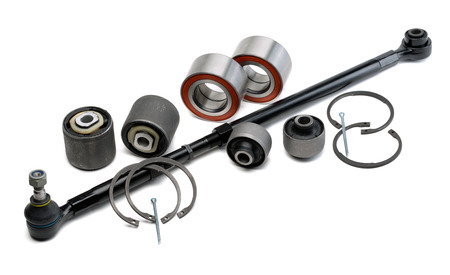 hobs: Set of automotive parts, thrust bearings, retaining rings, hobs and pins isolated on white background.