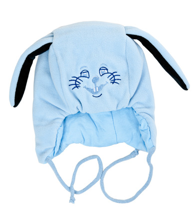snout: blue baby warm hat with rabbit snout on a white background