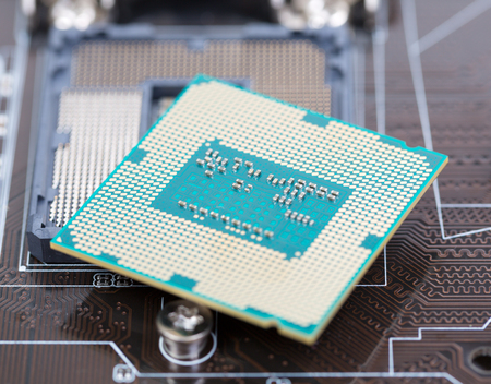 cycles: Modern powerful CPU cycles, a slot on the motherboard Stock Photo