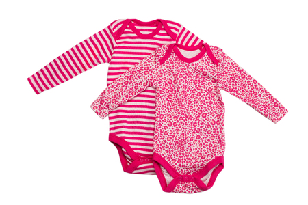 striped pajamas: Two childrens pink shirt. Isolate on white. Foto de archivo