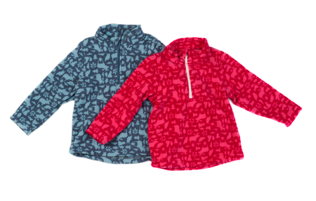 fleece: Two fleece jacket, gray and red. Isolate on white.