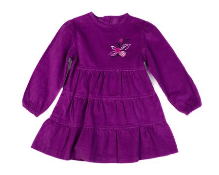velvet dress: Baby purple velvet dress. Isolate on white