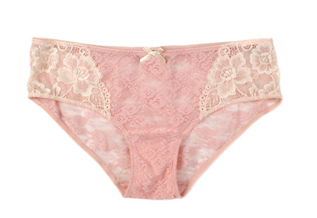 lace panties: Beige lace panties. Isolate on white.