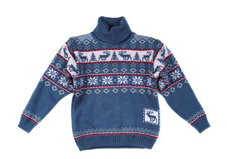 wool: Knitted sweater with a pattern deer. Isolate on white. Stock Photo